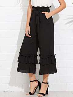 Layered Ruffle Hem Belted Culotte Pants