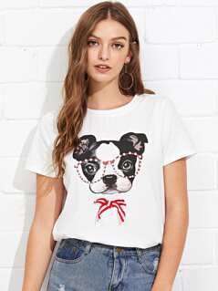Pearl Beaded Striped Bow Dog Print Tee