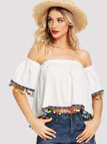 Off-Shoulder Tassel Blouse
