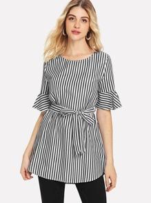 Self Tie Flounce Sleeve Stripe Blouse