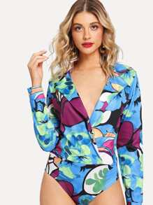Graphic Print V-Neck Bodysuit