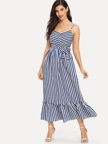 Striped Tie Waist Strap Dress