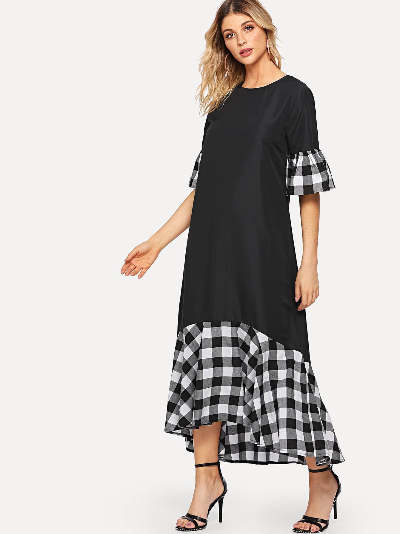 Flounce Sleeve Plaid Longline Dress