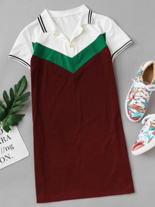 Color Block Polo Dress