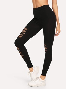 Ripped Skinny Solid Leggings