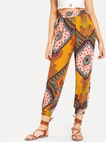 Graphic Print Elastic Waist Pants
