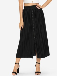Button Front Solid Pleated Skirt