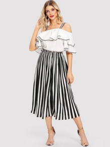 Open Shoulder Flounce Sleeve Blouse With Striped Pants