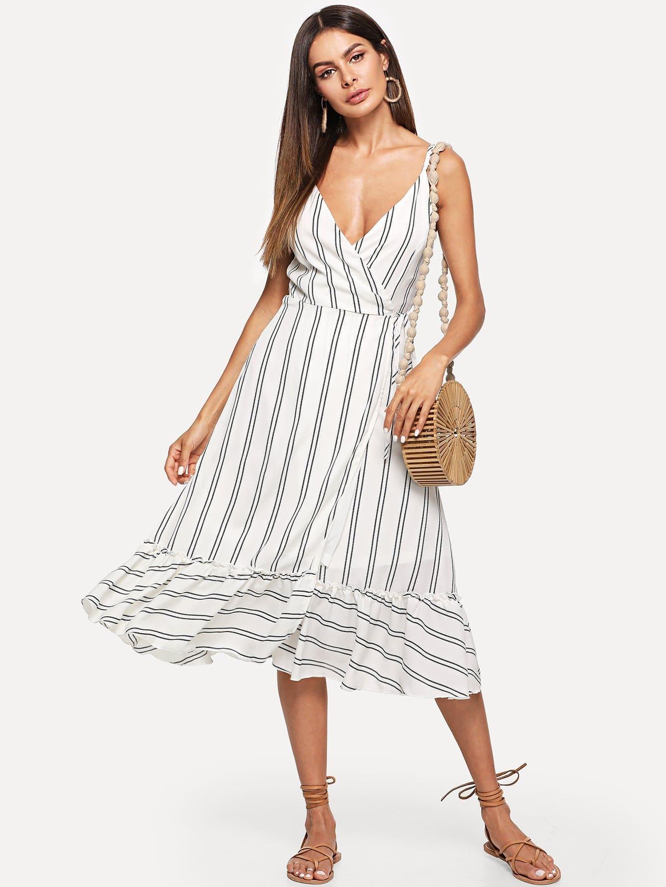 Wrap Front Ruffle Hem Striped Cami Dress sleeveless wrap front midi dress with irregular hem