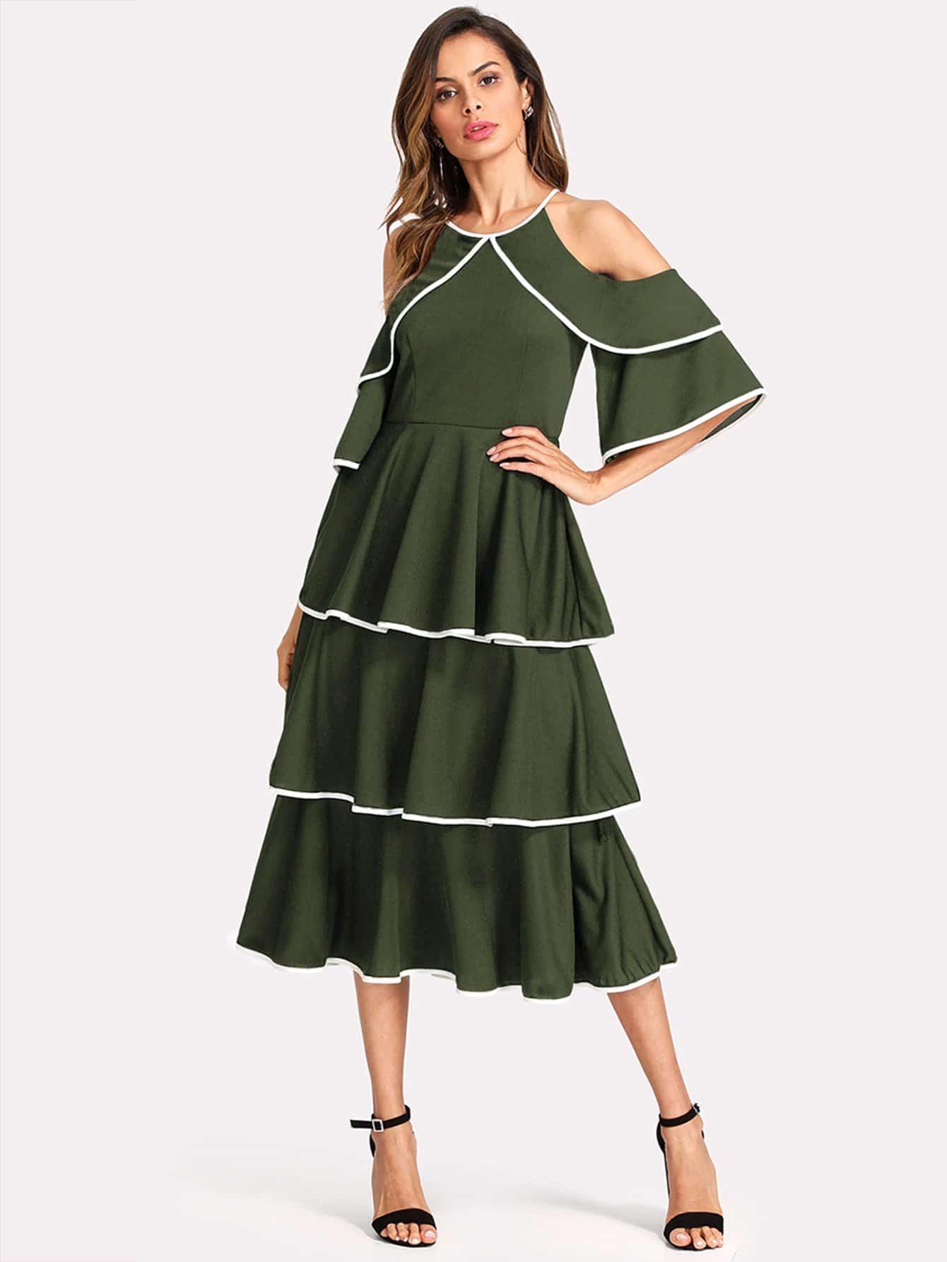 Contrast Binding Open Shoulder Tiered Flounce Dress