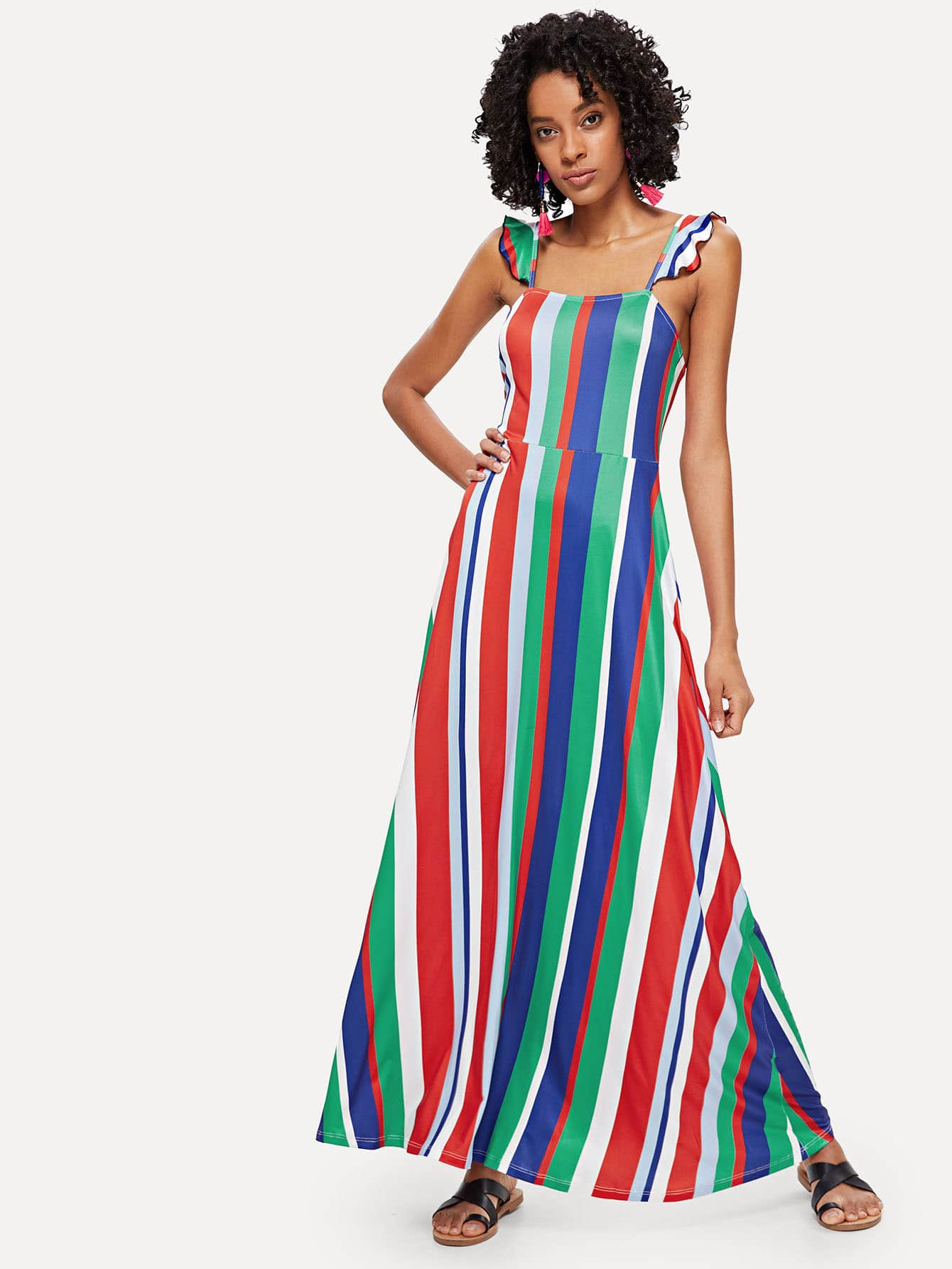 Ruffle Strap Fit and Flare Striped Dress ruffle strap and hem striped dress