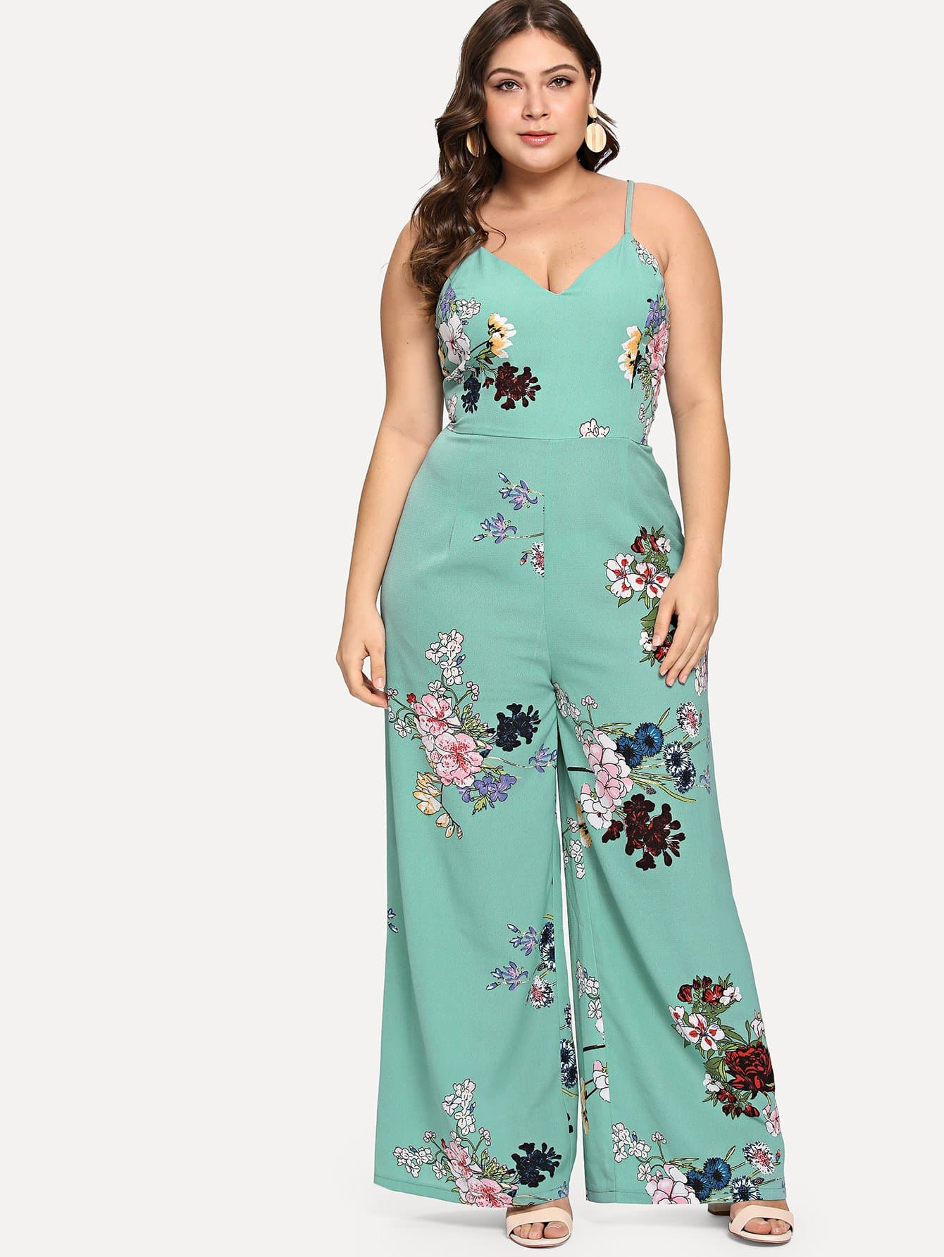 Plus Crisscross Back Floral Cami Jumpsuit hettich 1804 12