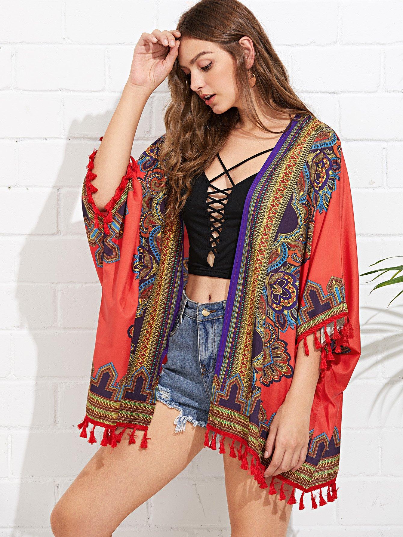 Купить Изысканная печать Кишечное кимоно, Luiza, SheIn