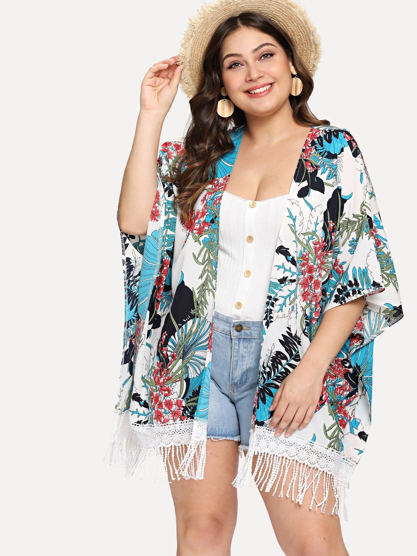Plus Tropical Print Fringe Lace Hem Kimono florals fringe hem kimono