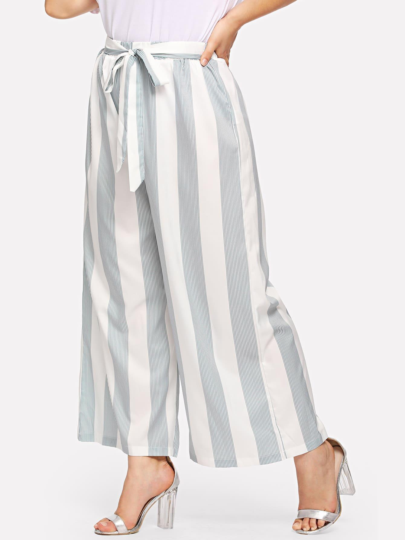 Купить Полосатые широкие ножные штаны с поясом, Carol, SheIn