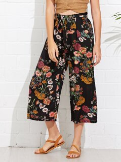 Flower Print Knot Pants