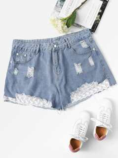 Plus Embroidered Mesh Insert Distressed Denim Shorts