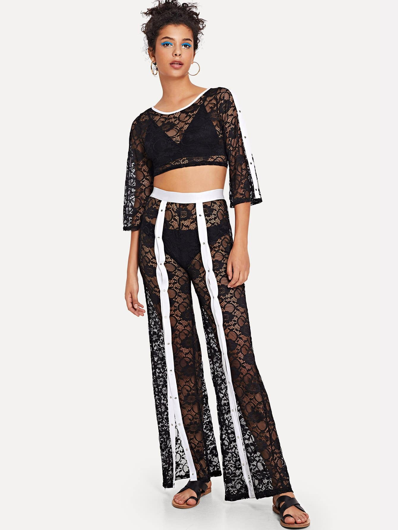 Sheer Lace Crop Top and Contrast Snap Button Front Pants Set kids adult printed beanbag lounger sofa cover chairs outdoor pouf puff couch lazy bean bag sofas without filling seat tatami