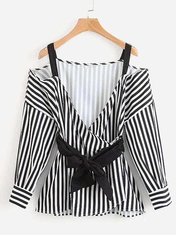 Contrast Stripe Knot Front Wrap Blouse contrast lace wrap blouse