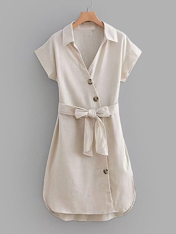 Self Tie Curved Hem Shirt Dress self tie neck cuffded sleeves curved hem blouse