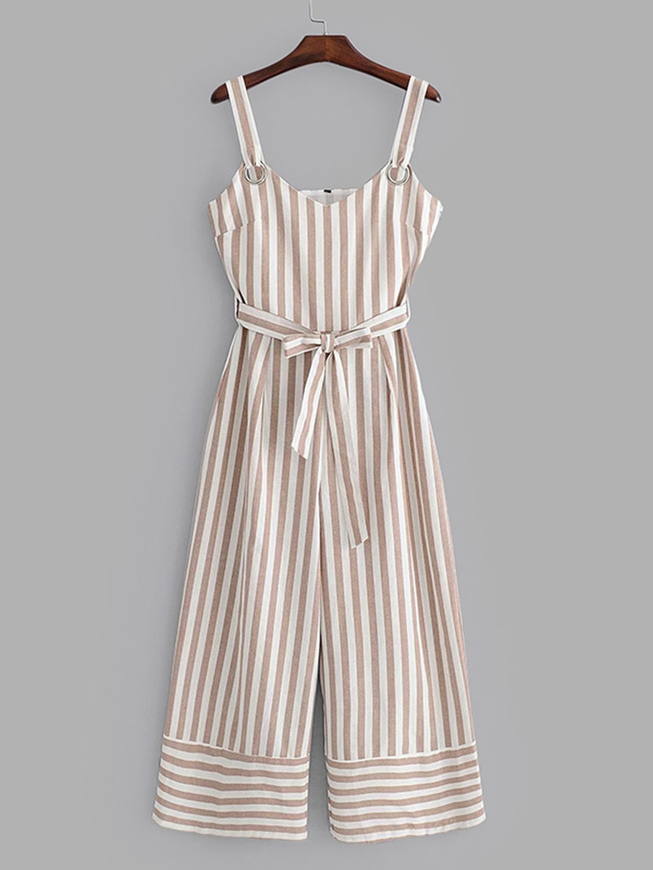 Contrast Stripe Belted Wide Leg Jumpsuit erisson cwa 12f02