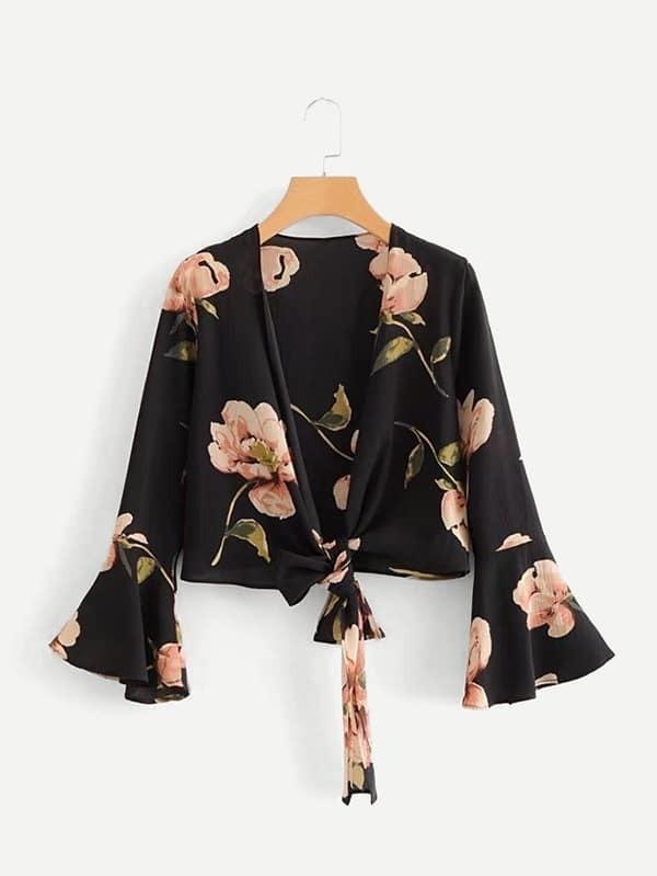 Flounce Sleeve Knot Hem Crop Florals Kimono knot hem star print kimono