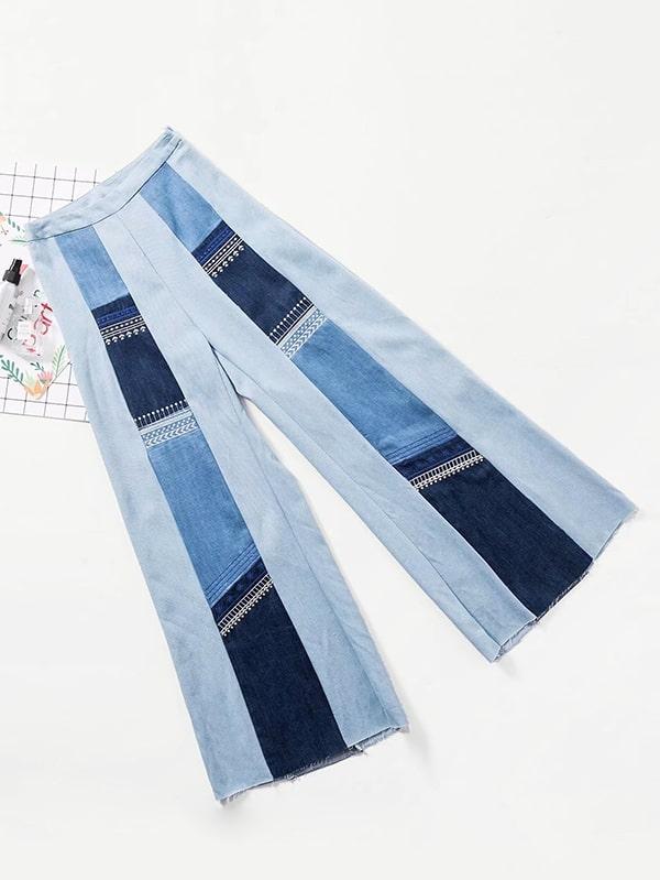 Embroidered Raw Hem Wide Leg Jeans embroidered lantern sleeve wide hem top