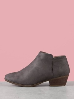 Faux Suede Round Toe Ankle Booties