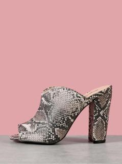 Snakeskin Peep Toe Chunky Mule Heel