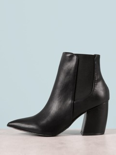 Pointed Toe Chunky Heel Bootie