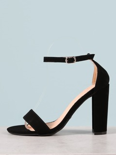 Single Band Ankle Strap Block Heel