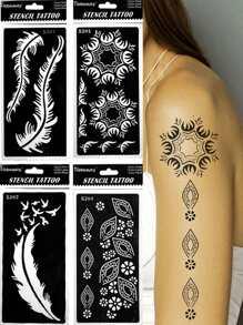 Feather Detail Tattoo Stencil Set 4pcs