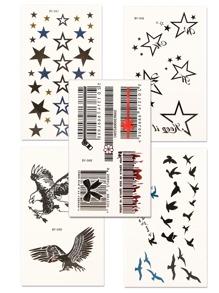 Star & Bird Tattoo Sticker Set 5pcs