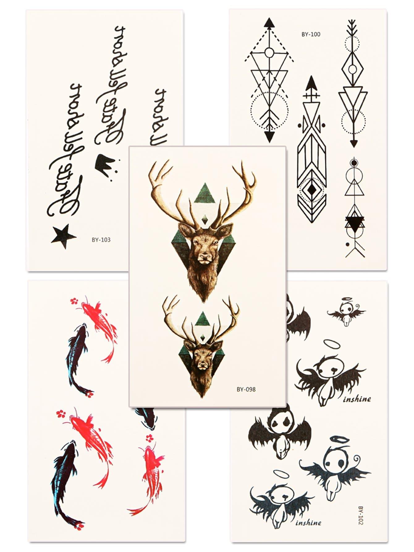 Deer & Fish Tattoo Sticker Set 5pcs