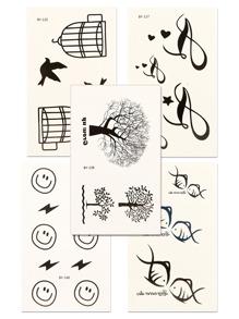 Tree & Fish Tattoo Sticker Set 5pcs