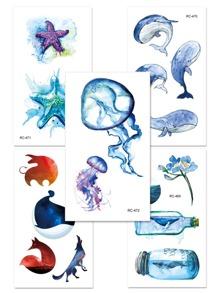 Jellyfish & Whale Tattoo Sticker Set 5pcs