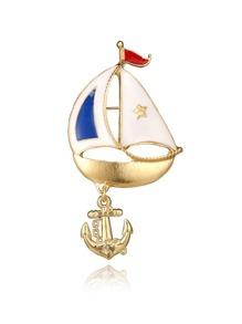 Sailboat & Anchor Shaped Brooch