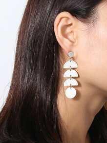 Layered Half Disc Drop Earrings