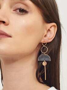 Bar & Half Round Hoop Drop Earrings