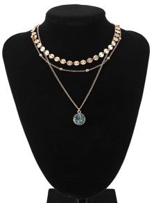 Glitter Stone Pendant Layered Necklace