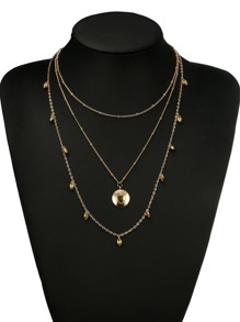 Metal Heart Decorated Layered Chain Necklace