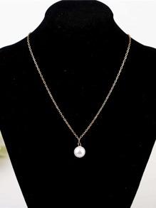Faux Pearl Pendant Chain Necklace