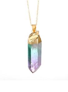 Random Crystal Pendant Chain Necklace