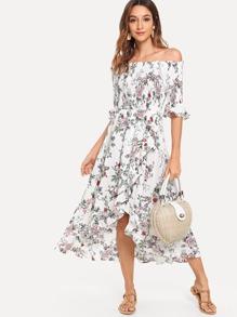 Off-Shoulder Ruffle Sleeve Floral Dress