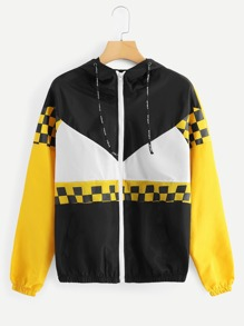 Color Block Drawstring Jacket