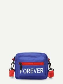Zipper Front Canvas Crossbody Bag