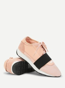 Two Tone Lace Up Sneakers