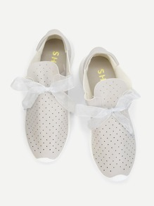 Lace Bow Design PU Sneakers