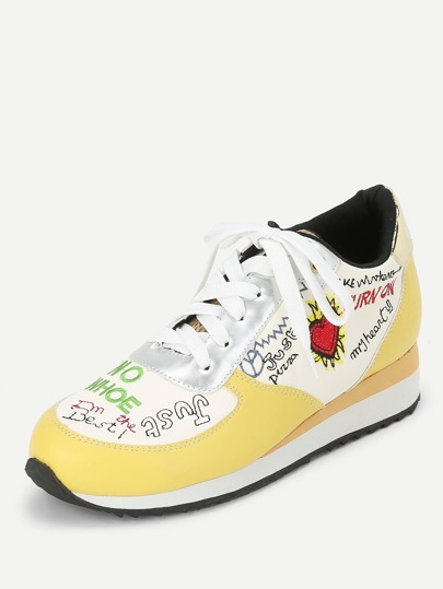 Romwe / Letter Embroidery Lace Up Sneakers