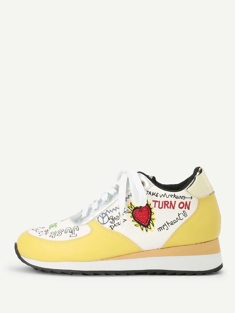 Letter Embroidery Lace Up Sneakers, Multicolor